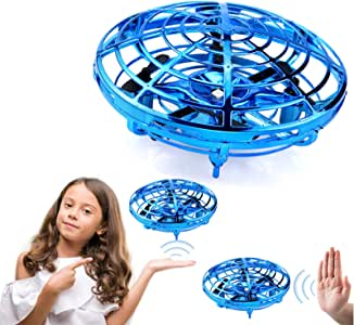 Mafix Drone for Kids Adults Toys Hand Operated Mini Drone Flying UFO Game Toys, Flying Ball Toy Gifts for Boys and Girls Motion Sensor Helicopter Outdoor and Indoor with Shinning LED Lights (Blue)