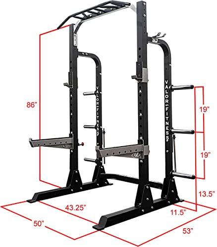 Valor Fitness BD-58 Squat Rack with Pull Up Bar Weight Cage Home Gym Equipment 1000lb Capacity w Plate Barbell Storage Plus Bundle Option w Weight Lifting Platform
