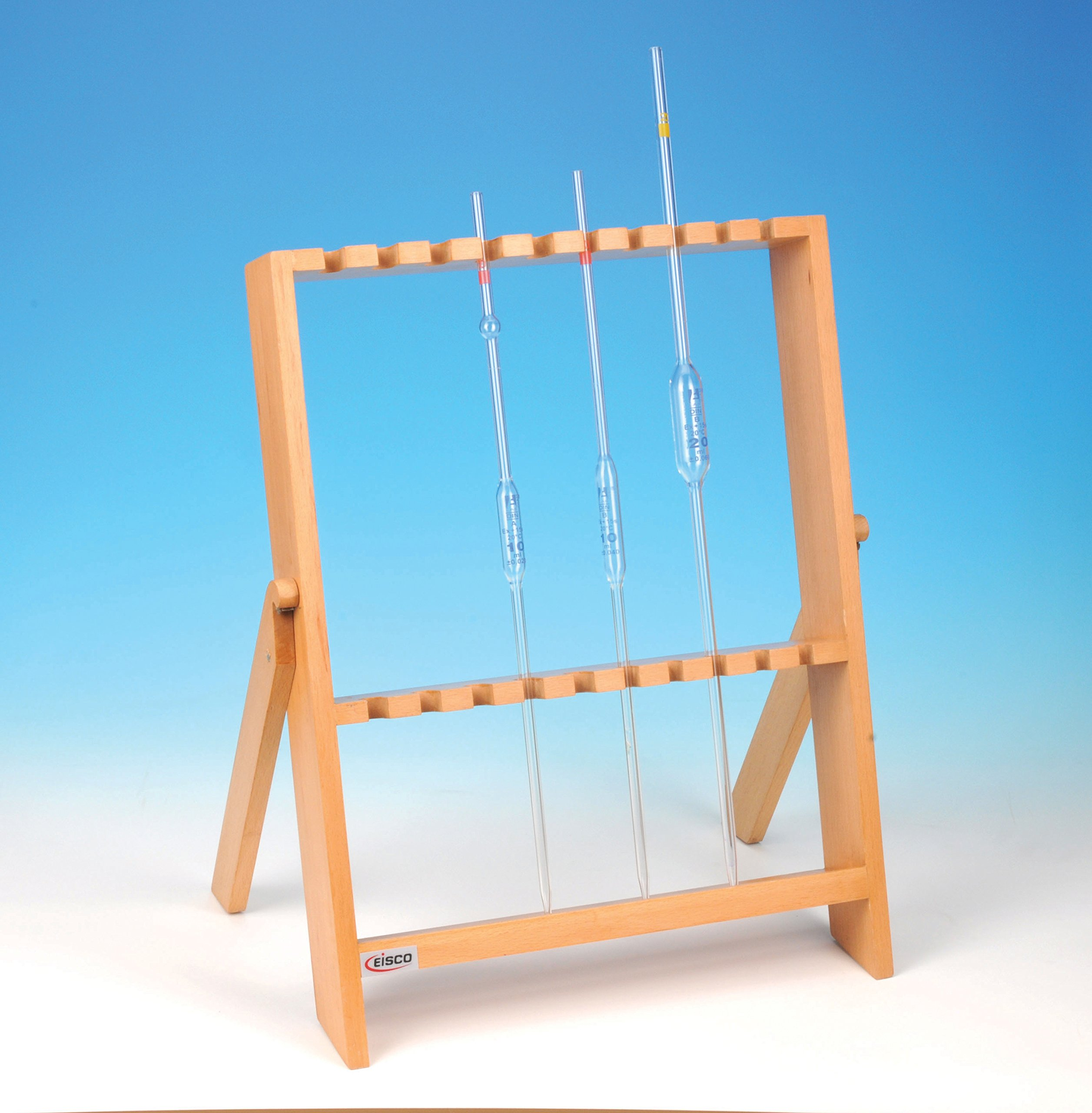 Eisco Labs Wooden Pipette Stand, Holds 10 Pipettes Vertically
