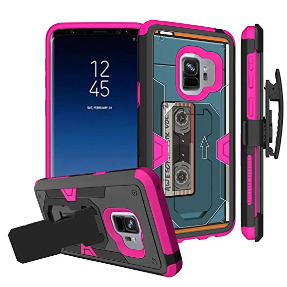 Untouchble Case for Samsung Galaxy S9 Plus Pink Case, S9 Plus Holster Case [MYSTIC CASE] Unique Design Heavy Duty Cover Shell with Kickstand Holster ...
