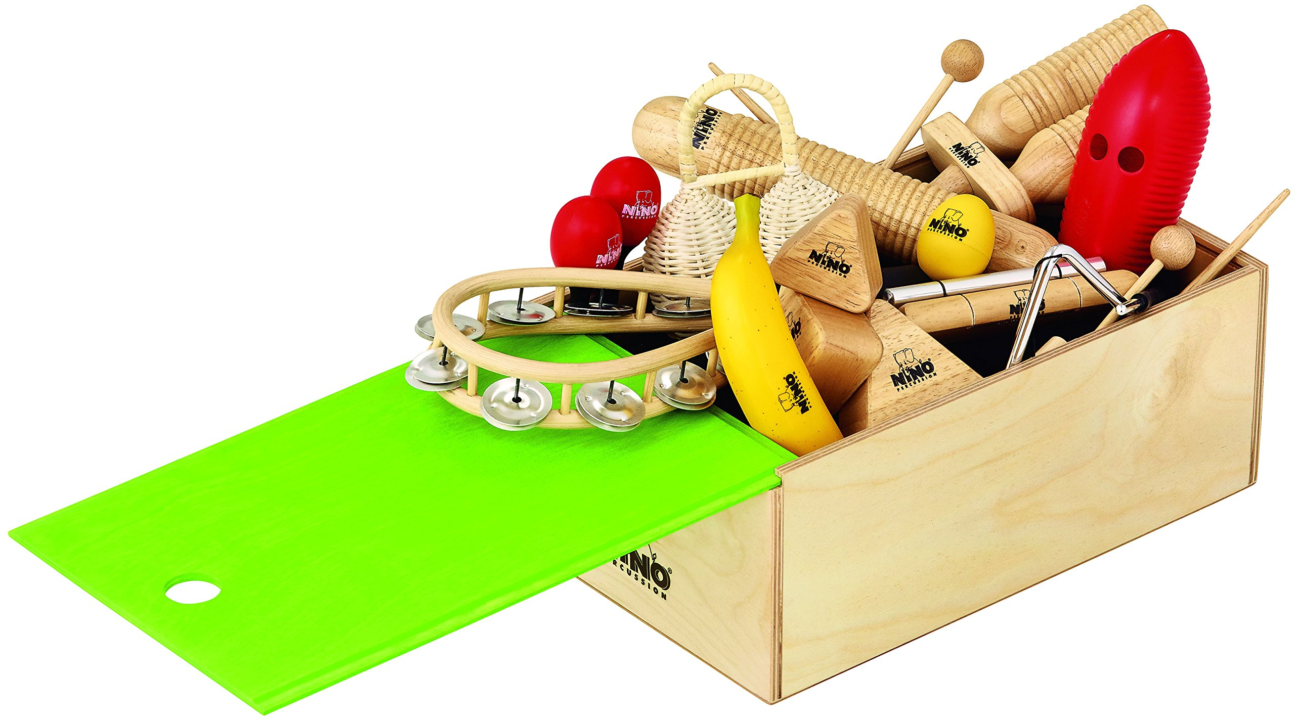 Nino Percussion NINOSET515-WB Rhythm Assortment with Storage Box, 15 pieces