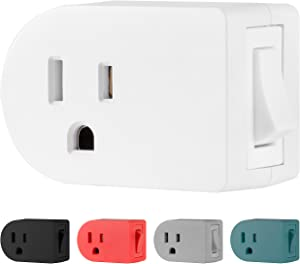 Cordinate Grounded Outlet On/Off Power Switch, 3 Prong, Plug in Adapter, Easy to Install, For Indoor Lights and Small Appliances, Energy Saving, White, 49968, 1 Pack