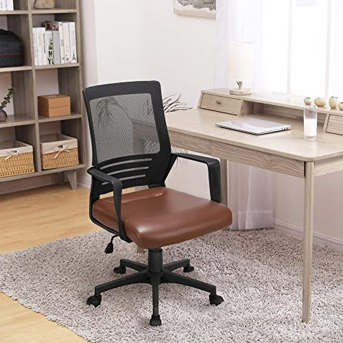 YAHEETECH Ergonomic Home Office Chair Leather and Mesh Combine Desk Chair Rolling Swivel Adjustable Mesh Chair