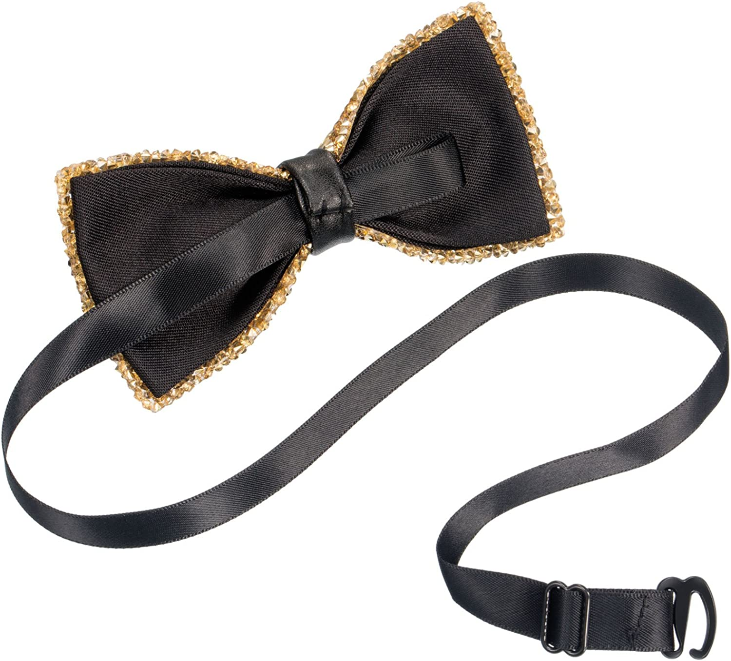 Gold and Silver Blulu 2 Pieces Rhinestone Bow Ties Party Banquet Bowties Mens Pre-tied Bow Ties for Wedding and Parties