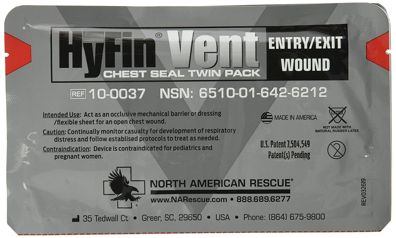 North American Rescue Hyfin Sello de ventilación en el pecho, 2 unidades
