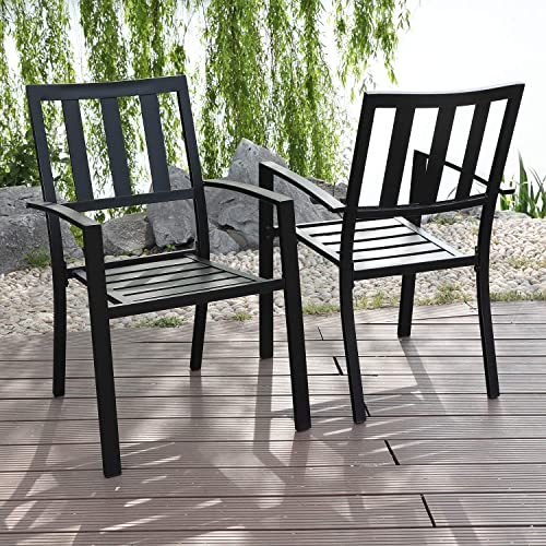 MFSTUDIO 2 Piece Patio Wrought Iron Dining Seating Chair