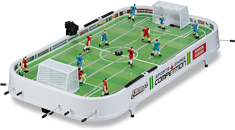Relaxdays - Juego de Mesa Futbolín, plástico, 16 x 96 x 51 cm, color blanco: Amazon.es: Juguetes y juegos