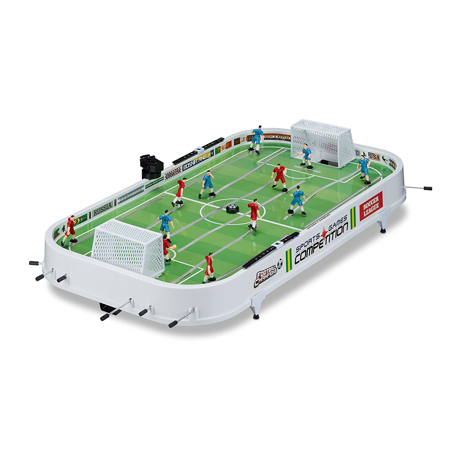 Relaxdays Foosball Tabletop Game, Soccer Set for Adults and Kids, XL Football Table, W x D: 96 x 51 cm, White-Green 10021754