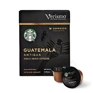 Starbucks Medium Roast Verismo Coffee Pods — Guatemala Antigua Espresso for Verismo Brewers — 6 boxes (72 pods total)
