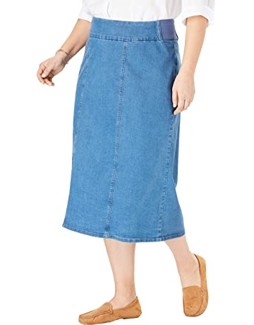 c2f58ebcd8 Woman Within Women's Plus Size Smooth Waist A-Line Denim Skirt