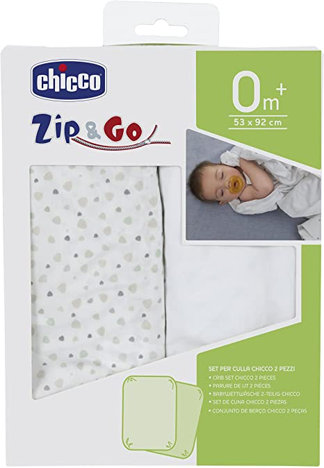 Chicco Zip & Go Set de 2 sábanas bajeras, color gris claro