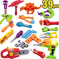 iPlay, iLearn Kids Dinosaur Construction Tools Kit w/ Sound and Light, Electronic Pretend Play Set Toy w/ Drill, Fix Learning Gift for Ages 2, 3, 4, 5, 6 Year Olds Preschool Boys Toddlers Children
