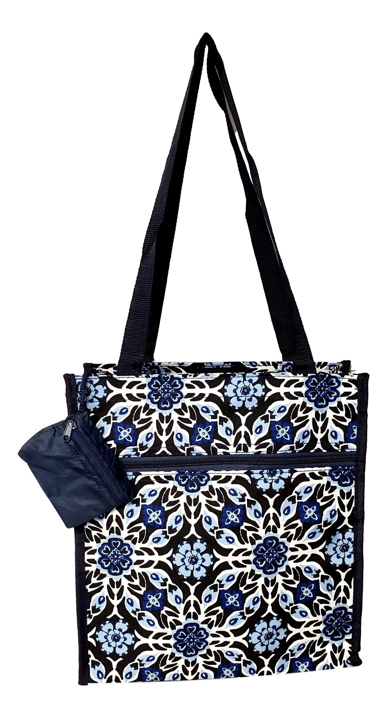 12 in by 13 in Tote Bag w/Mesh Water Bottle Pocket (Blue Flower Geo)