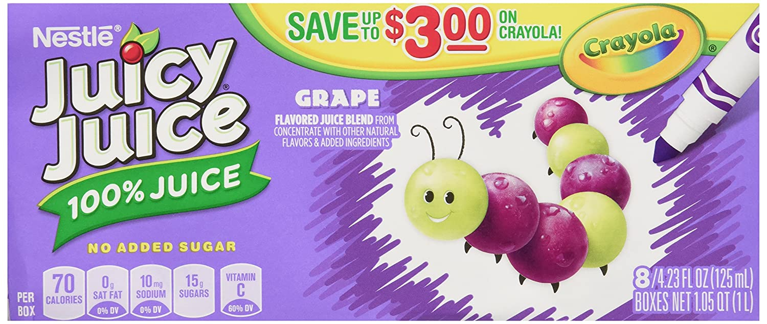 Juicy Juice 100% Juice, Grape, 8-Count/4.23-Ounce Boxes (Pack of 5)