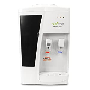 Nutrichef Countertop Water Cooler Dispenser - Hot & Cold Water, Child Safety Lock, Holds 3 or 5 Gallon Bottles