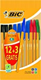 BIC Crystal Orange Fine Ball Pens - Assorted (Value Pack of 12, Plus 3 Free)