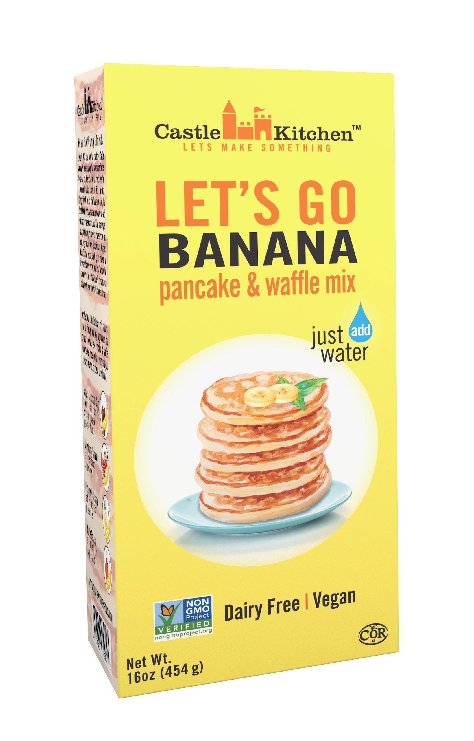 Banana Pancake Mix - Let's Go Banana Dairy-Free, Vegan Complete Pancake & Waffle Mix - Just Add Water - 16 oz