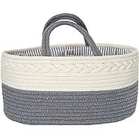 Baby Diaper Caddy Nappy Organiser - Larger size 100% Cotton Stylish Luxury Rope design - Nursery Storage Basket Bag…