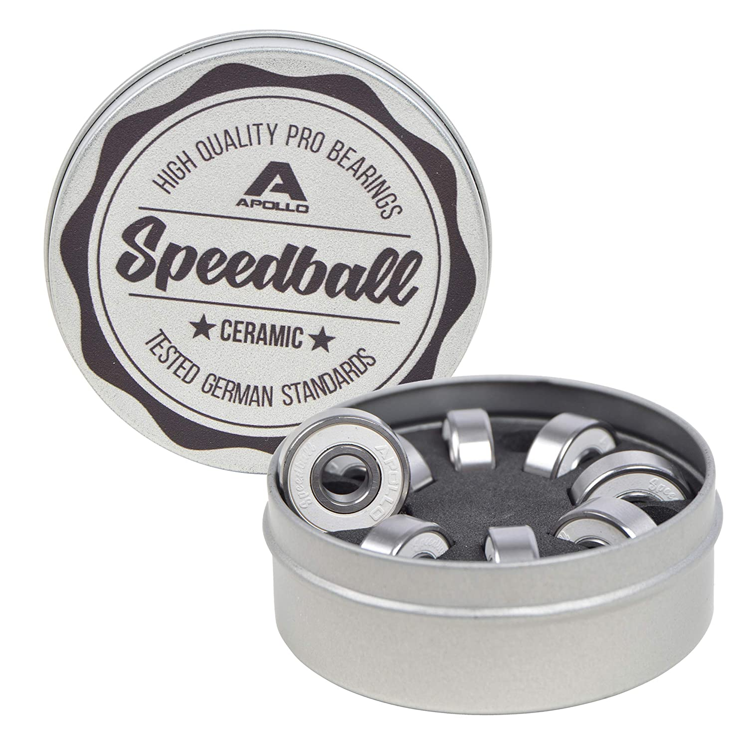 Apollo Speedballs - Bearing Set, Bearings 2.1 x 0.7cm ABEC 11 for Longboards Skateboards Scooters