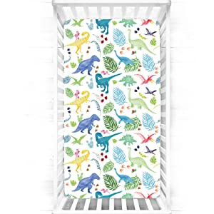 Boy Crib Sheet, Dinosaur Toddler Sheets for Baby Toddler Mattress, Nursery Bedding, Stretchy and Soft, Fits Full Standard Size Crib Mattress, White