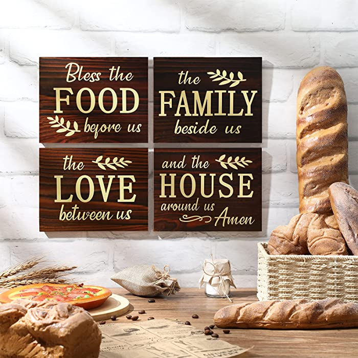 4 Pieces Bless The Food Before Us Wood Sign, Family Beside Us Wood Wall Sign, Love Between Us Wooden Sign, House Around US Wooden Sign Plaque for Farmhouse Kitchen, Living Room, Dining Room