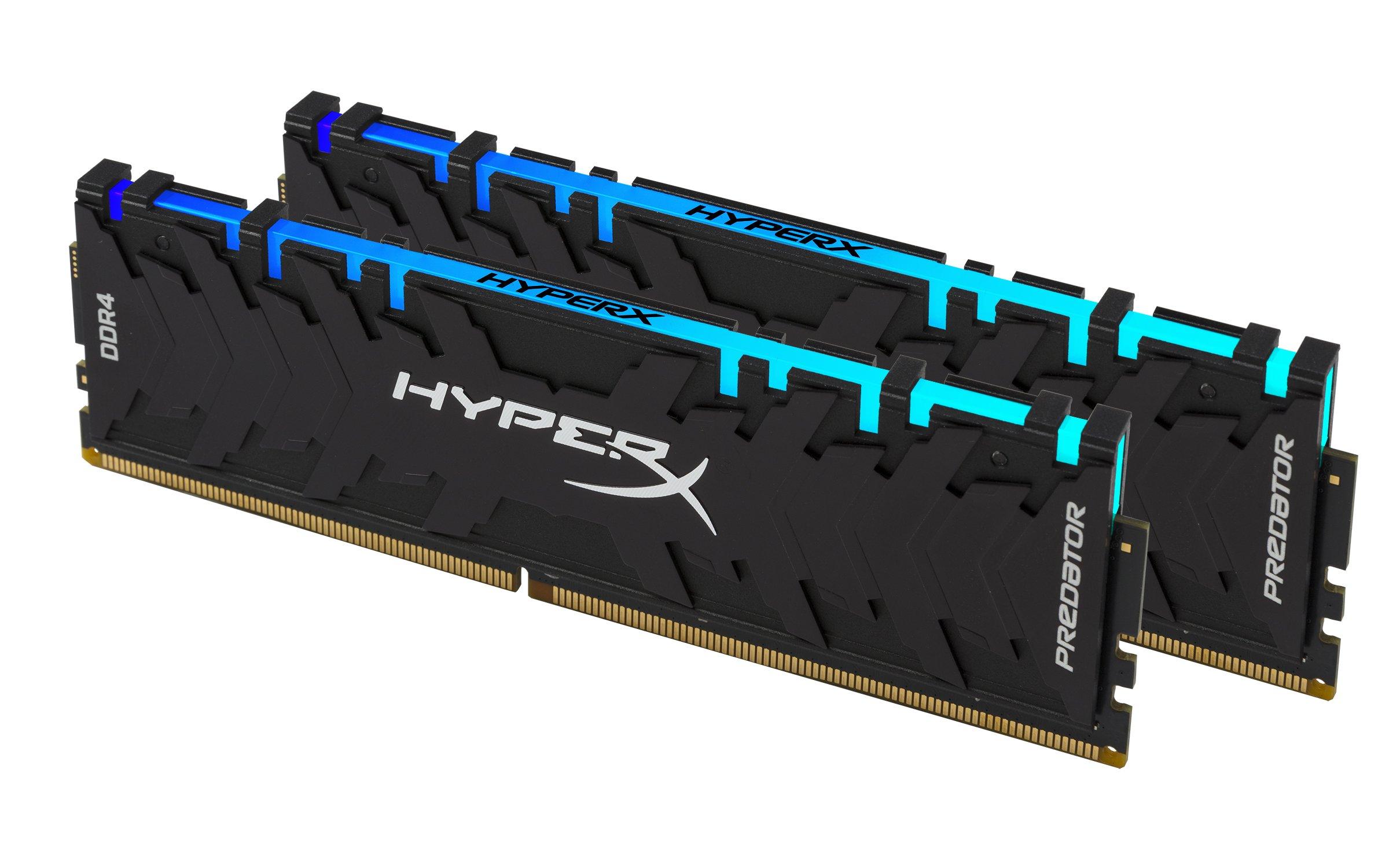 HyperX Predator DDR4 RGB 16GB kit 3200MHz CL16 DIMM XMP RAM Memory/Infrared Sync Technology Black (HX432C16PB3AK2/16)