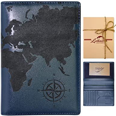 Amazon lethnic leather passport holder wallet cover case lethnic leather passport holder wallet cover case rfid blocking travel wallet world map gumiabroncs Choice Image