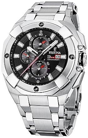 Amazon.com: Festina F16351/B plata reloj de cuarzo de acero ...