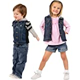 ZooVaa Weighted Vest/Jacket for Kids - Children's Denim Weighted Compression Vest w/Hoodie/Jacket and Removable Weights (Medi