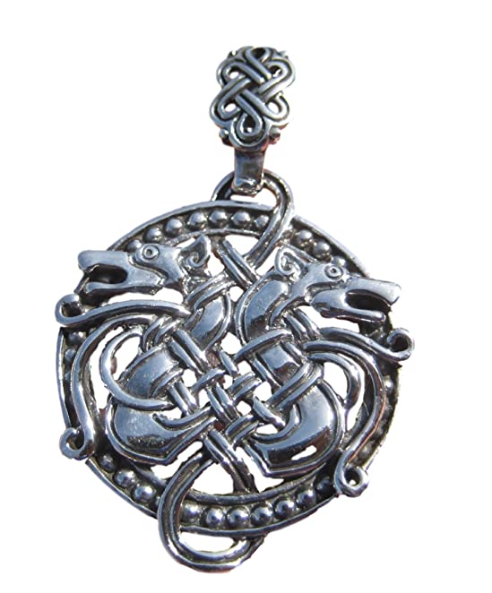 Deluxe Adult Costumes - Men's sterling silver pirate celtic dragon medallion necklace.