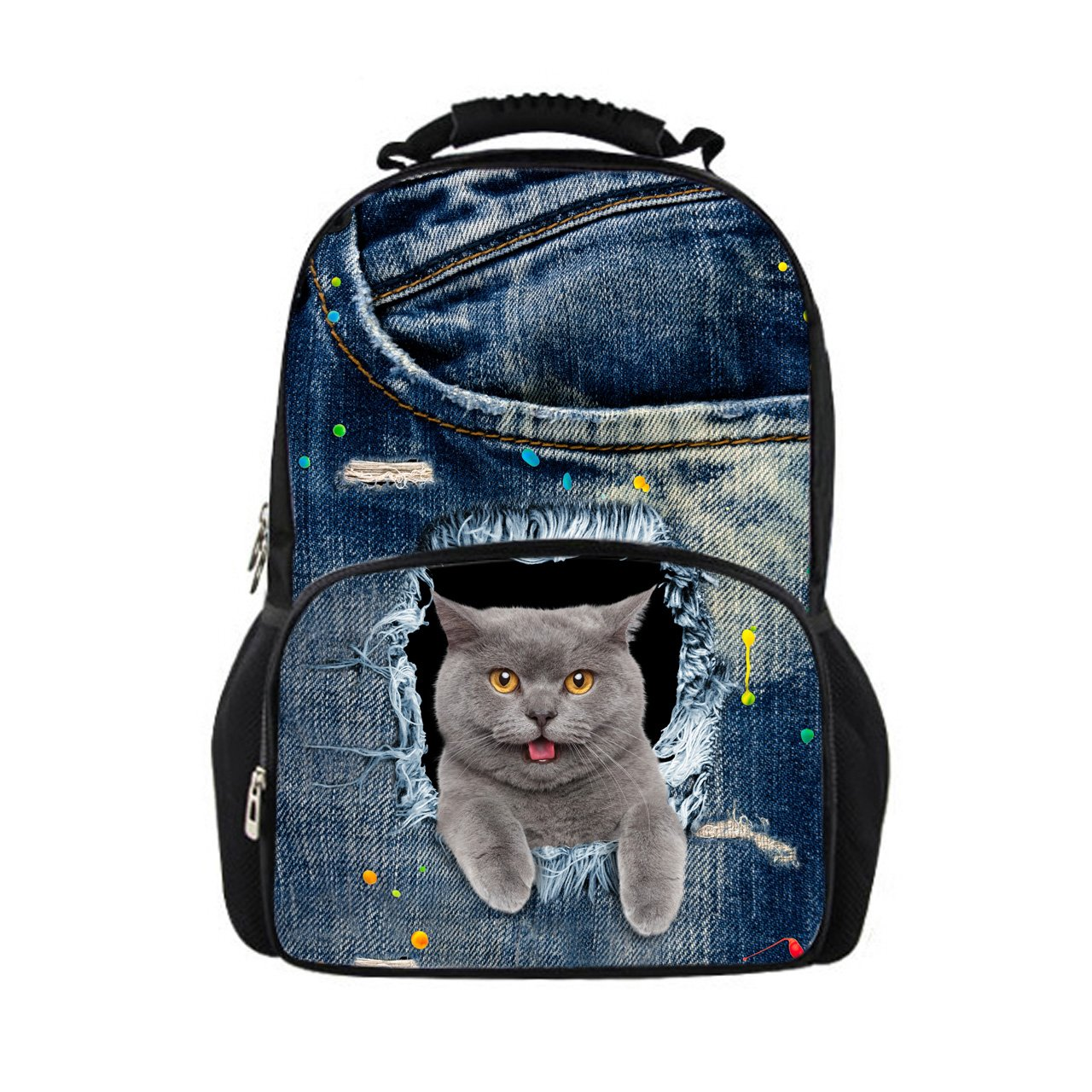 d933bf7f17b0 Showudesigns Korean Style Cat Backpack for Primary Children Cool Denim  Bagpack