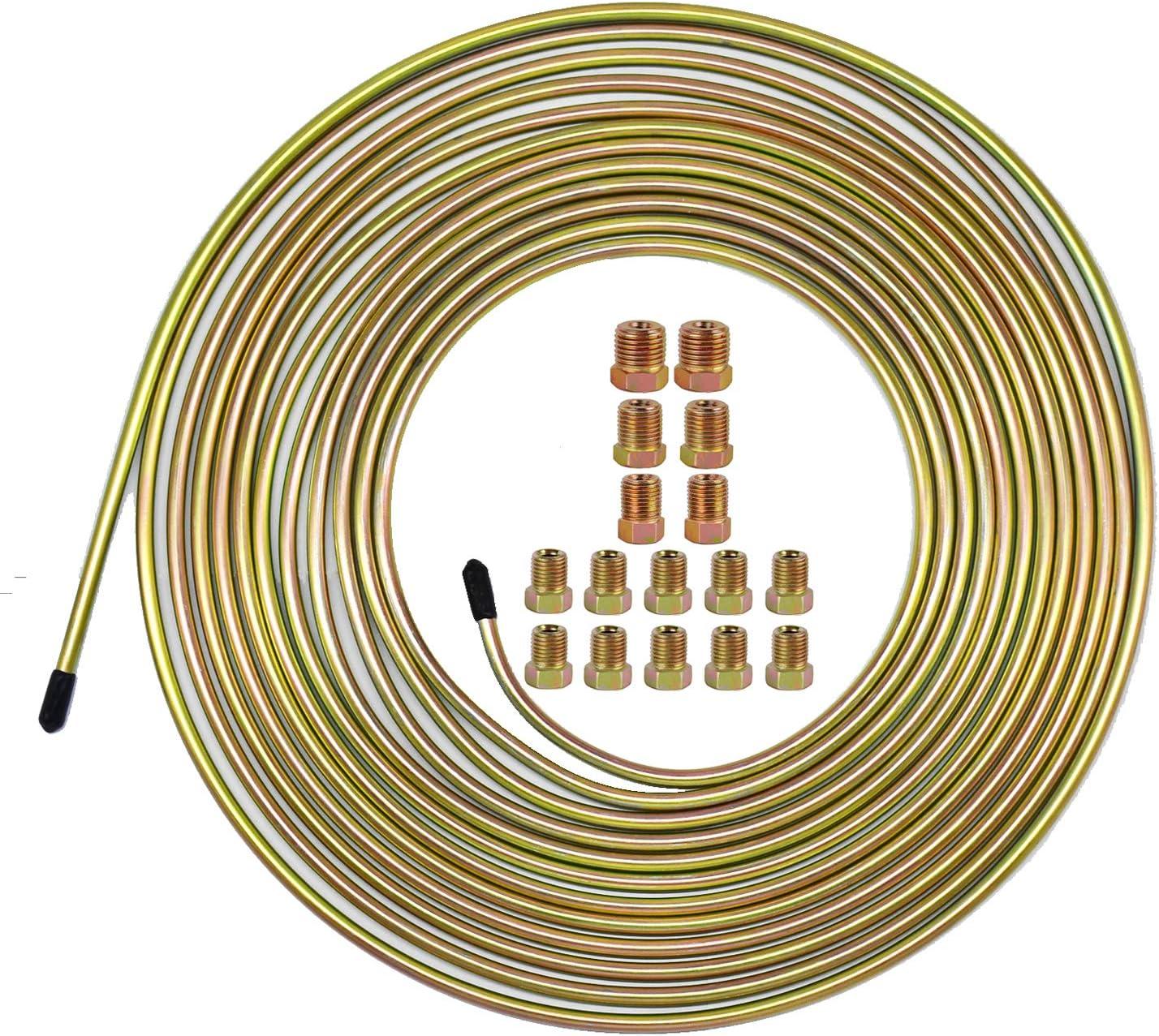 "25 Ft. of 3/16 Brake Line Tubing Kit - Muhize Flexible Double Galvanized Steel Tube Roll 25 ft 3/16"" (Includes 16 Fittings)"