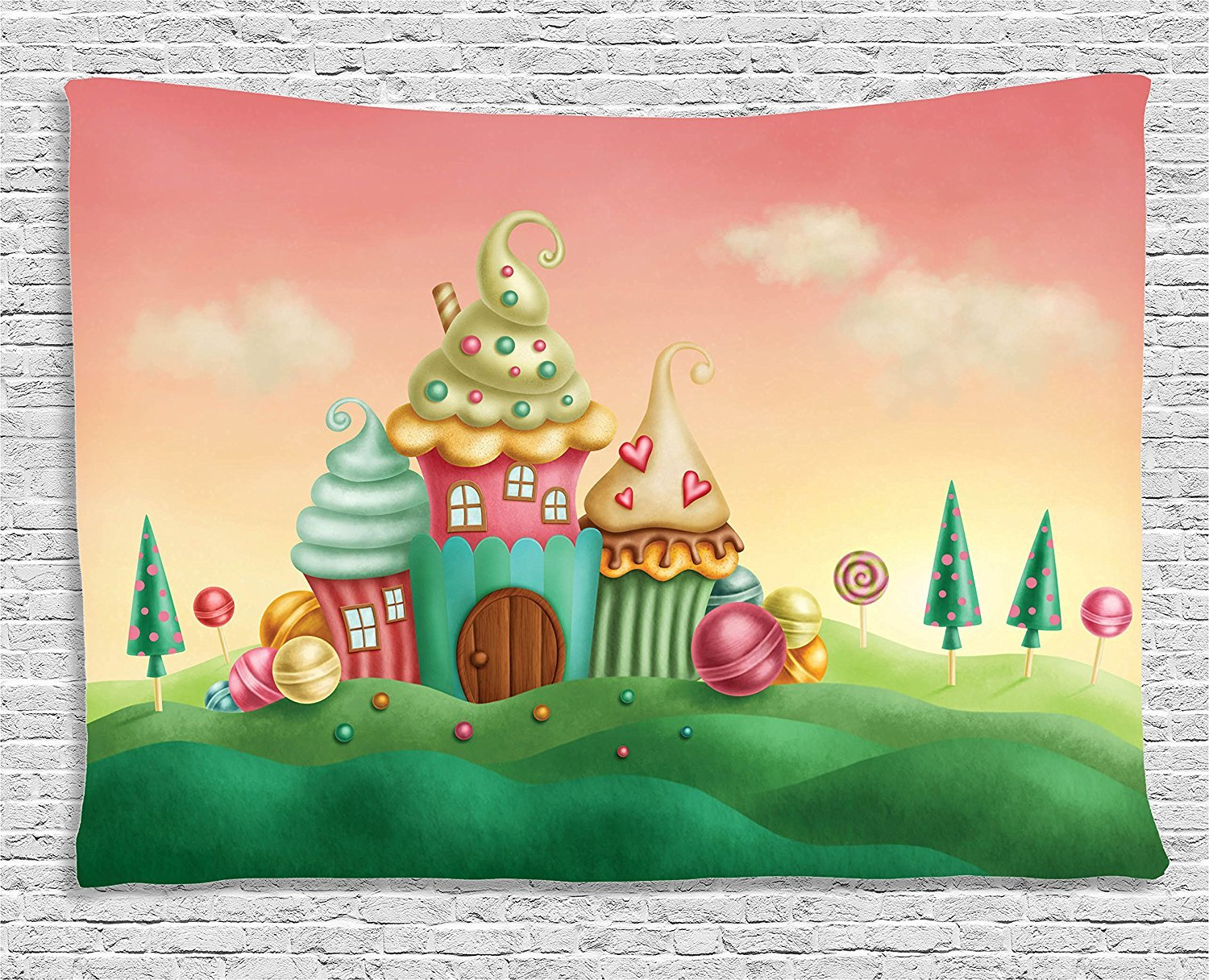 Amazon.com: Ambesonne Teen Girls Decor Collection, Fantasy Houses ...