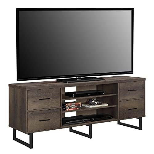 Ameriwood Home Candon Stand with Bins for TVs up to 60 Wide, Distressed Brown Oak, Medium
