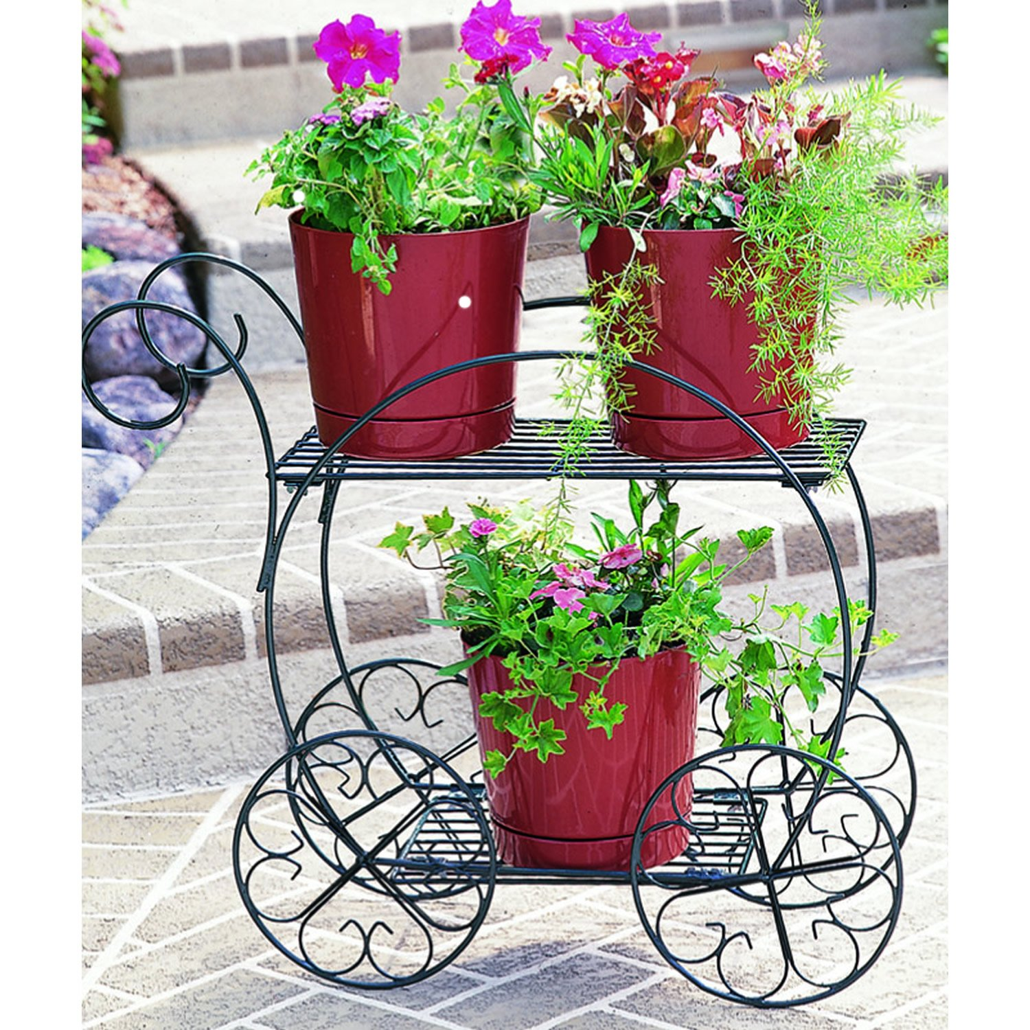 Amazon.com : CobraCo Two Tiered Garden Cart FC100 : Plant Stands ...