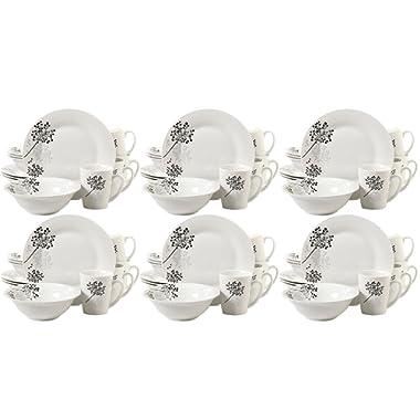 Gibson Home Netherwood 12-Piece Dinnerware Set, White, 6-Pack