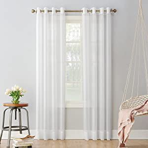 "No. 918 Emily Sheer Voile Grommet Curtain Panel, 59"" x 84"", White"