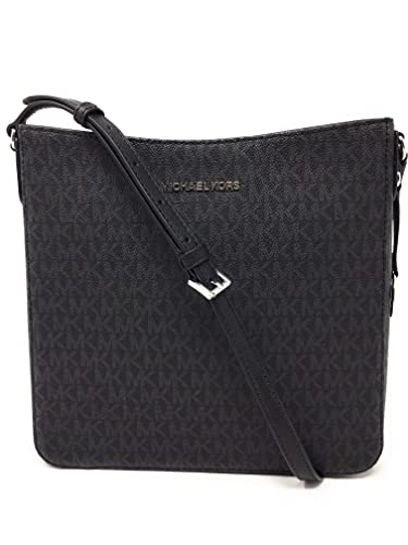 724b243956b46a Amazon.com: Michael Kors Jet Set NS Travel Messenger Bag Black/Black ...