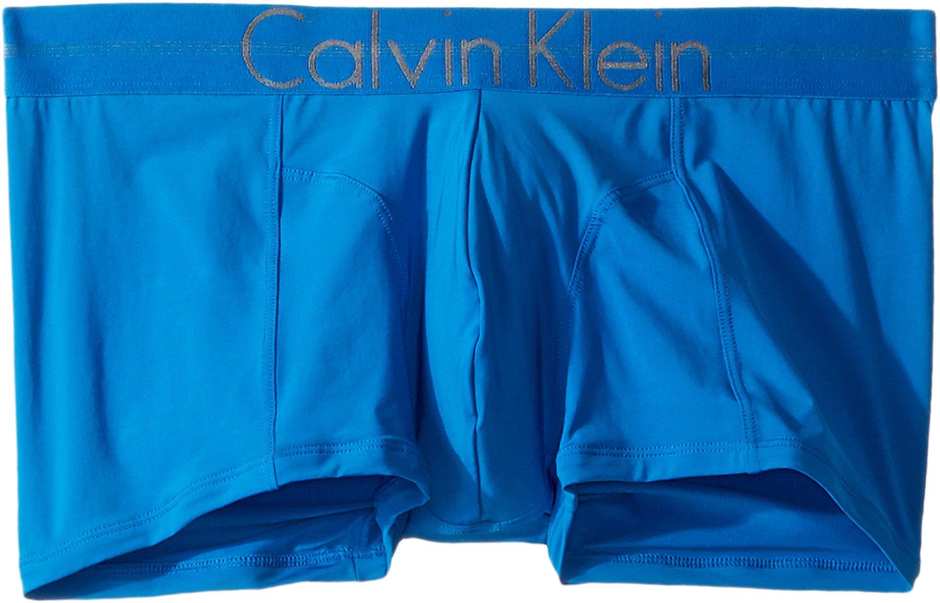 Calvin Klein Men's Underwear Focused Fit Low Rise Trunks, Summer Blue, Medium