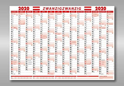 DIN A1 Jahresplaner Wandplaner Wandkalender 2020 gefalzt