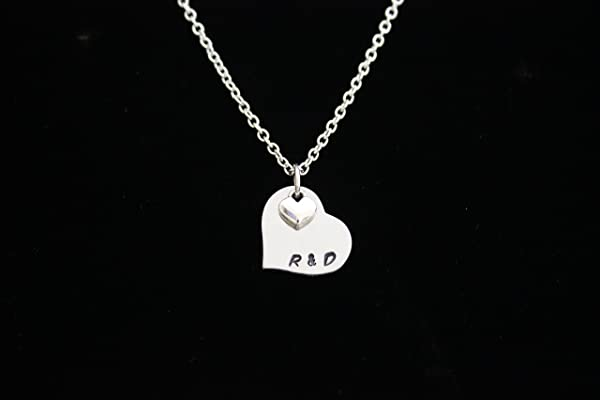 Personalized Couples Initial Hand Stamped Necklace with Tiny Silver Heart Charm, Couples Necklace
