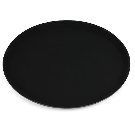Bandeja de hostelería antideslizante para vasos y vajilla, redonda, negra, 35,5 cm de diámetro: Amazon.es: Hogar