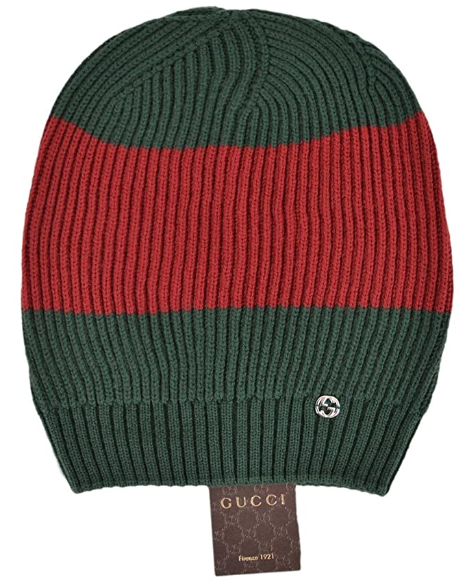 0493f3d1dff Gucci Men s Wool Green Red Interlocking GG Slouchy Beanie Ski Hat   Amazon.ca  Clothing   Accessories