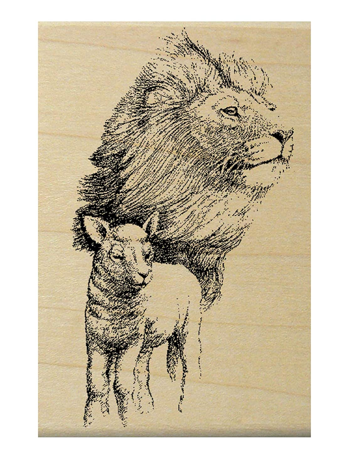 P3 Lion and lamb rubber stamp WM