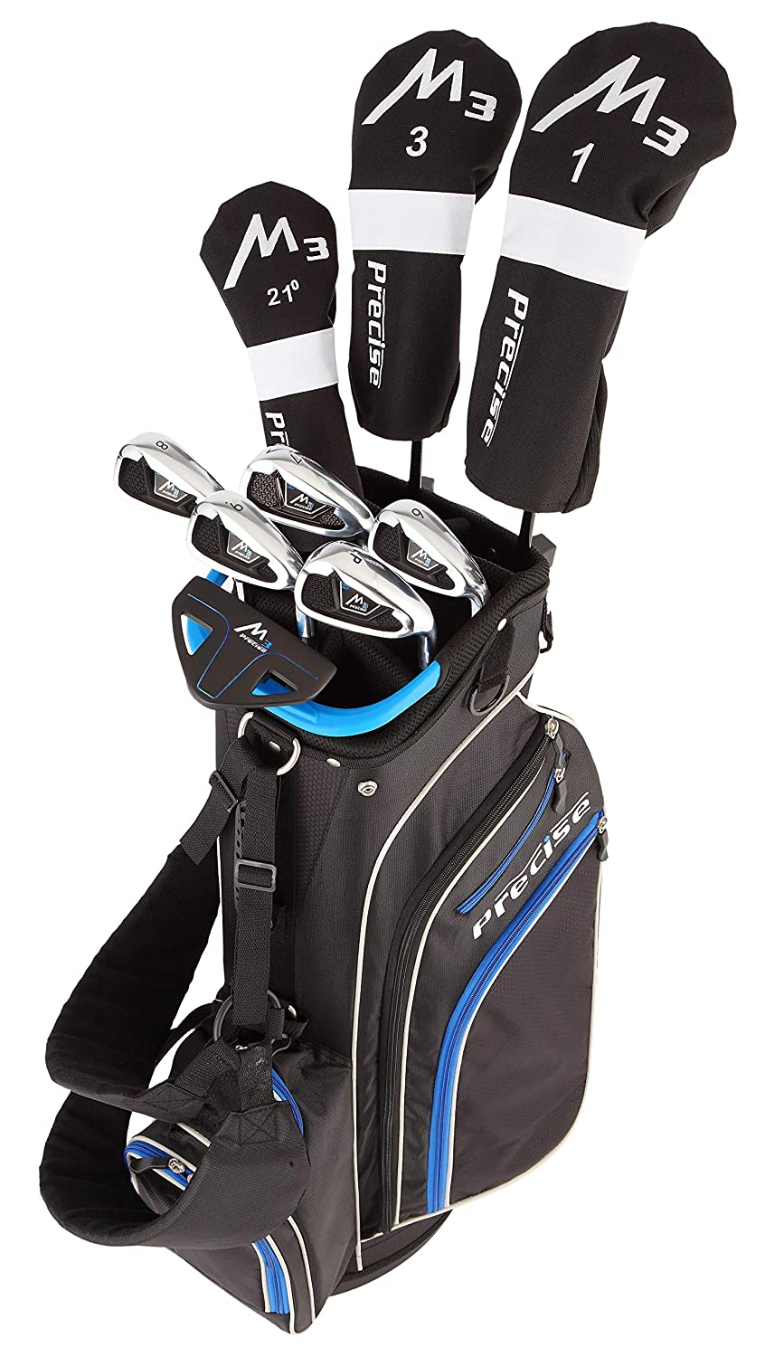 Precise M3 Mens Complete Golf Clubs Package Set Includes Driver, Fairway, Hybrid, 6-PW, Putter, Stand Bag, 3 H/Cs - Right Handed - Regular or Tall ...