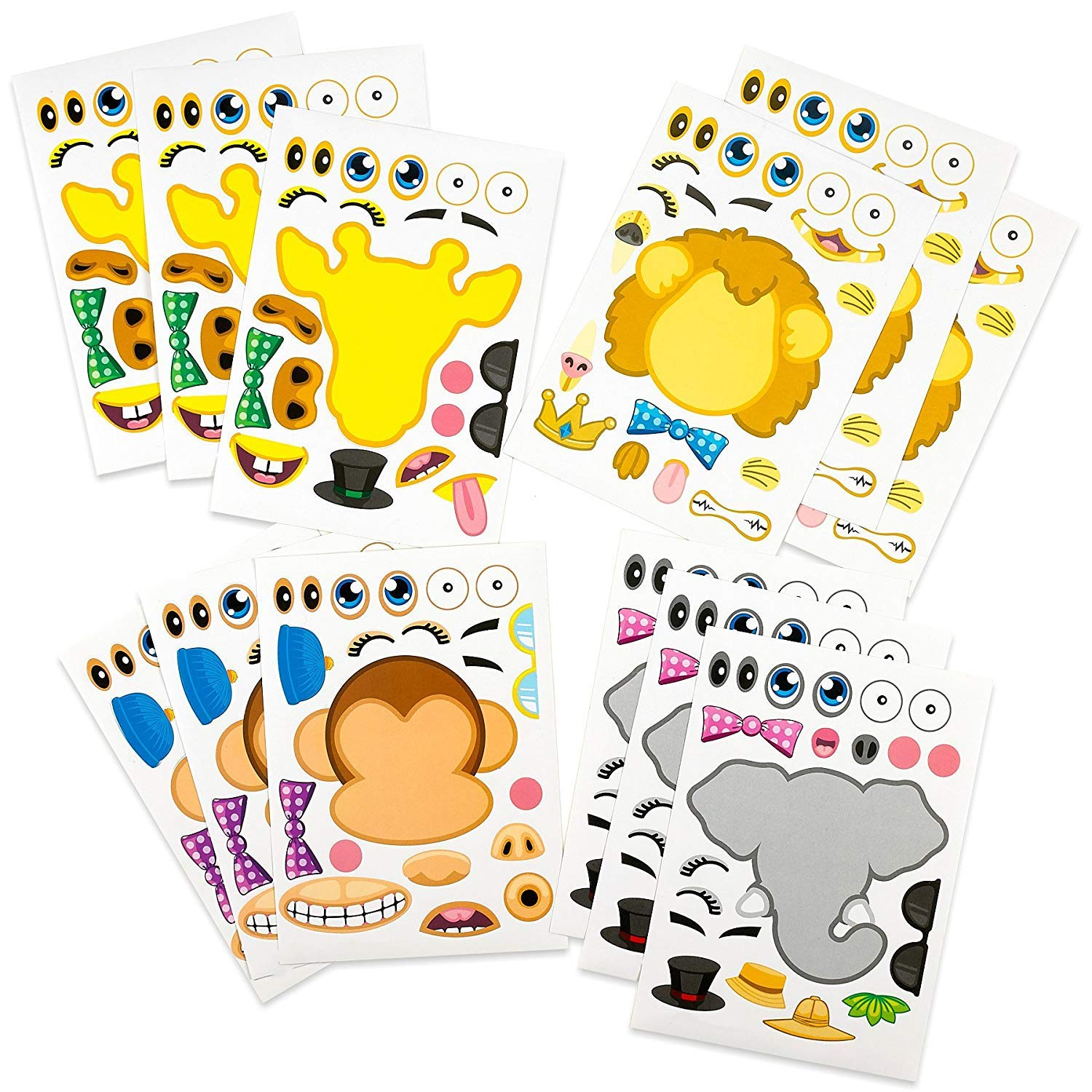 Parties Crafts Gifts Daycare Birthdays School Kicko Make-a-Zoo Animal Sticker Sheets -12 Pack for Kids Party Favors Arts Etc.