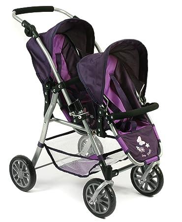 Bayer Chic 2000 691 25 – Tandem muñecas Buggy Twinny, ciruela, color lila