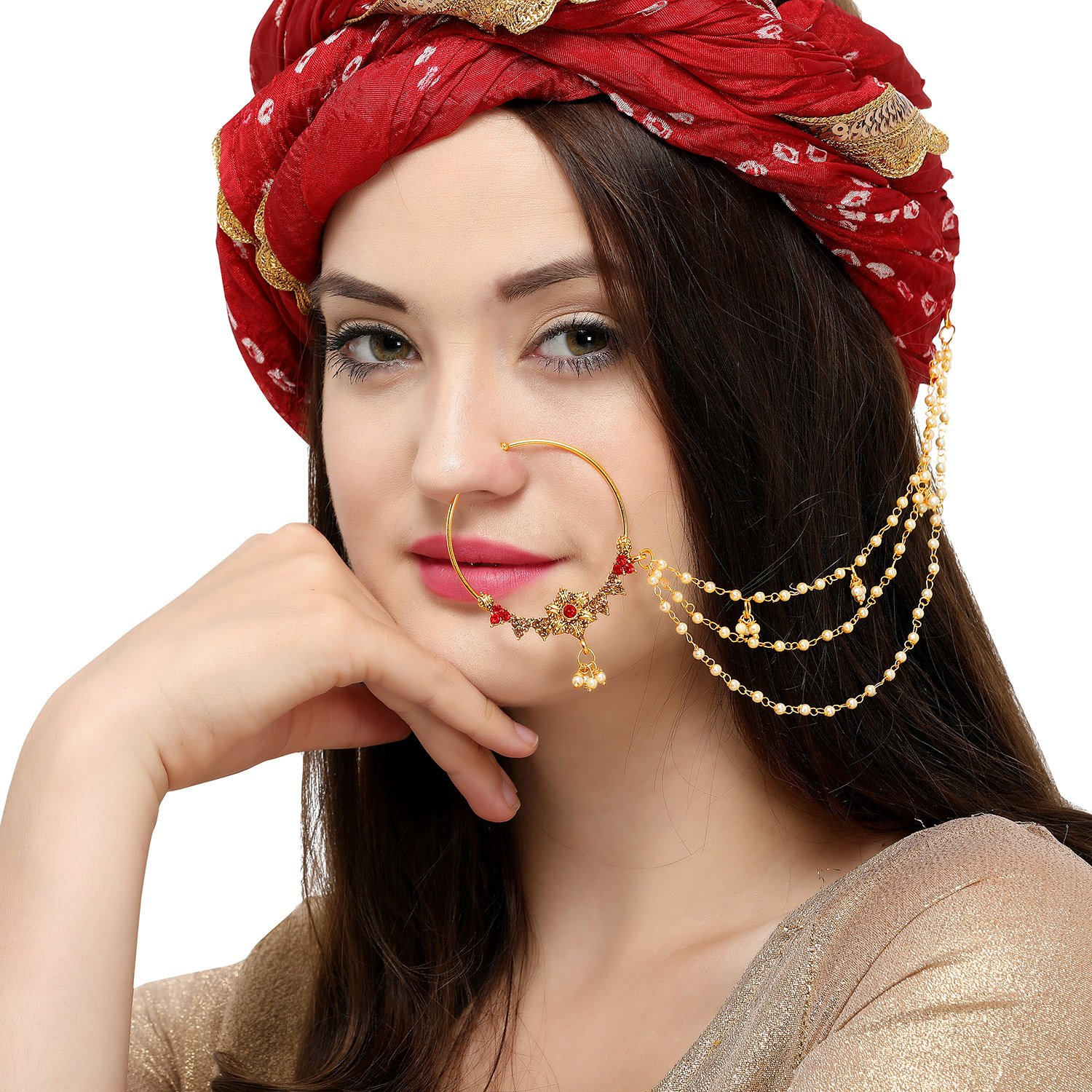 The Luxor Traditional Gold Plated Bridal Jewellery Nose Ring