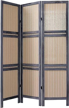 Rebecca Srl Diviseur Paravent 3 Panneaux Bois Tissu Gris Beige Style Shabby Chambre Salle De Bain Cod 1516 Amazon Fr Cuisine Maison