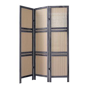 rebecca srl separadores biombo paneles madera tela gris beige estilo vintage bao dormitorio cod